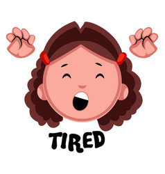 Tired girl on white background vector