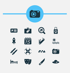 travel icons set with calendar mask multitool vector image