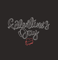 valentines day calligraphic linear logo template vector image
