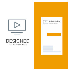 Video play youtube grey logo design and business vector