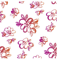 vintage style hand drawn flowers seamless pattern vector image