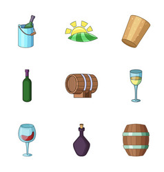 Viticulture icons set cartoon style vector
