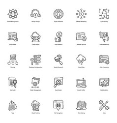 web line icons pack vector image