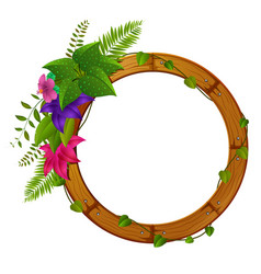 Wooden frame with flower vector