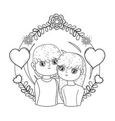 young lovers couple with floral decoration vector image