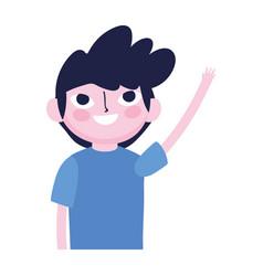 young man waving hand cartoon character vector image