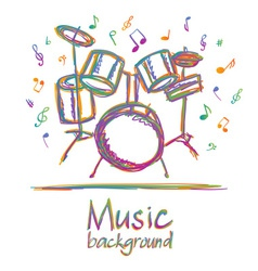 Drums music background with notes vector image vector image