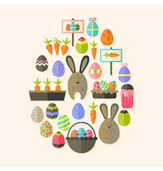 Easter holiday Flat Icons Set Egg shaped with vector image vector image