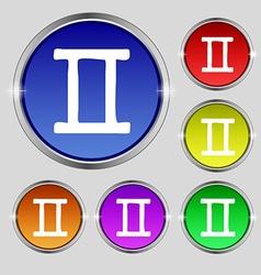 Gemini icon sign Round symbol on bright colourful vector image