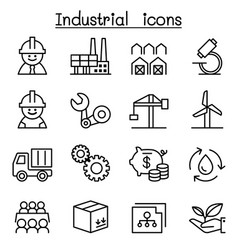 industrial icon set in thin line style vector image vector image