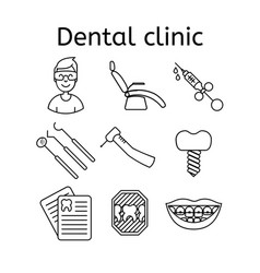 set of dental clinic in modern thin line style vector image vector image