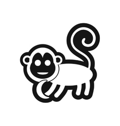 Stylish black and white icon monkey with bananas vector