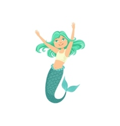 Turquoise hair mermaid in white sportive swimsuit vector