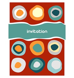 Colorful circles pattern on red vector