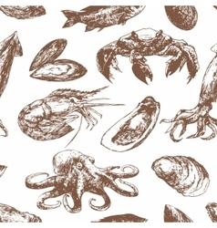 Hand drawn sketch pattern with seafood vector image