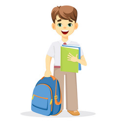 Schoolboy with backpack and textbook vector