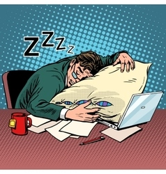 Worker dream workplace fatigue processing vector