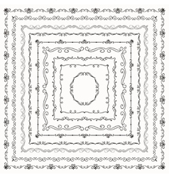 Black Vintage Hand Drawn Square Frames vector image