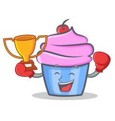 boxing cupcake character cartoon style winner vector image vector image