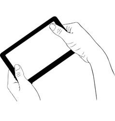 Hand holding digital tablet vector image
