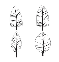Simple set of ornamental trees Isolated on white vector image