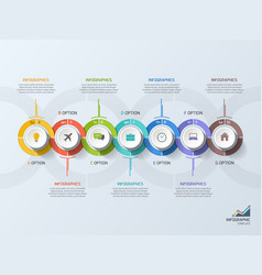 timeline business infographic template 7 steps vector image vector image