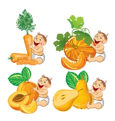 baby with a pumpkin apricot carrot and pear vector image