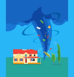 cartoon tornado or hurricane destroy house vector image