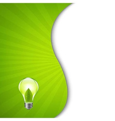 Green burst poster with bulb vector