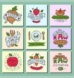 hand drawn style of bio organic eco healthy food vector image vector image