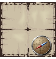 old map with steel compass vector image