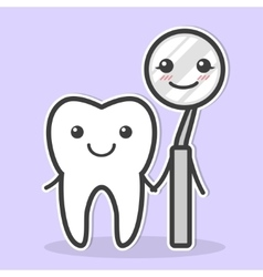 Tooth and dental mirror are friends vector image vector image