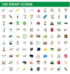 100 swap icons set cartoon style vector
