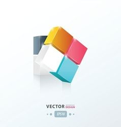 3D Cube twist pink blue yellow vector