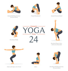 8 yoga poses for exercise infographic vector