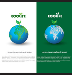 A earth and leaf logo combination planet and eco vector
