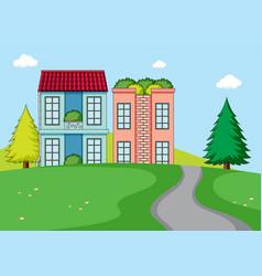 a rural house nature landscape vector image