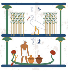 ancient egypt background a man carries vessels on vector image