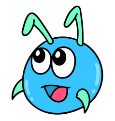 Ant head emoticon with cute smiling face doodle vector