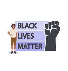 Anti-racist african protester with black lives vector