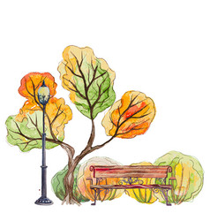 autumn park with bench and lantern vector image