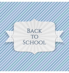 Back to School realistic Emblem with paper Ribbon vector