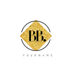 Bb letter logo with golden foil texture vector