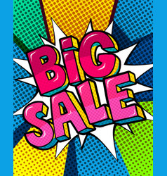 big hot sale message in pop art style vector image