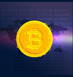bitcoin currency symbol digital background vector image