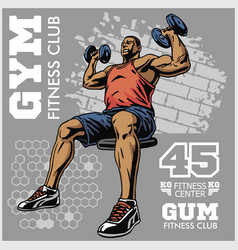 Bodybuilder t-shirt design - vector