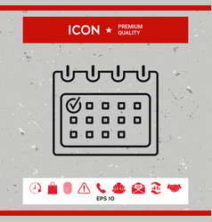 calendar with check mark- line icon vector image