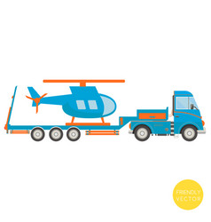 Cartoon transport lorry with helicopter vector
