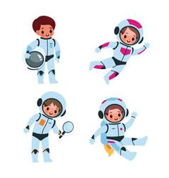 Children in cosmic suits and helmets vector