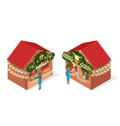 Christmas fair decorated houses isolated vector